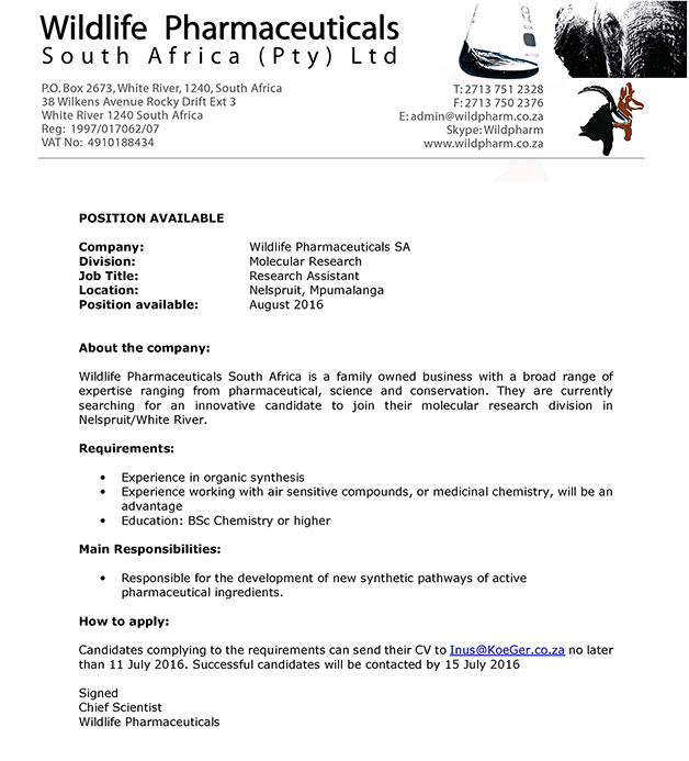 SACI – Job Description Chemist